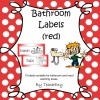 Bathroom Labels Red