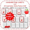 Handwriting SAMPLES A to Z Worksheets in Australian & NZ fonts
