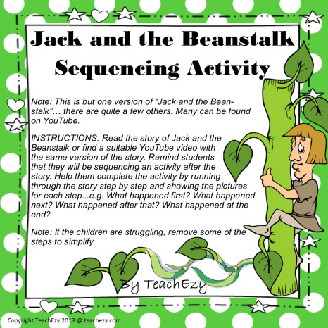 Jack and the Beanstalk Sequencing Activities - TeachEzy Early ...